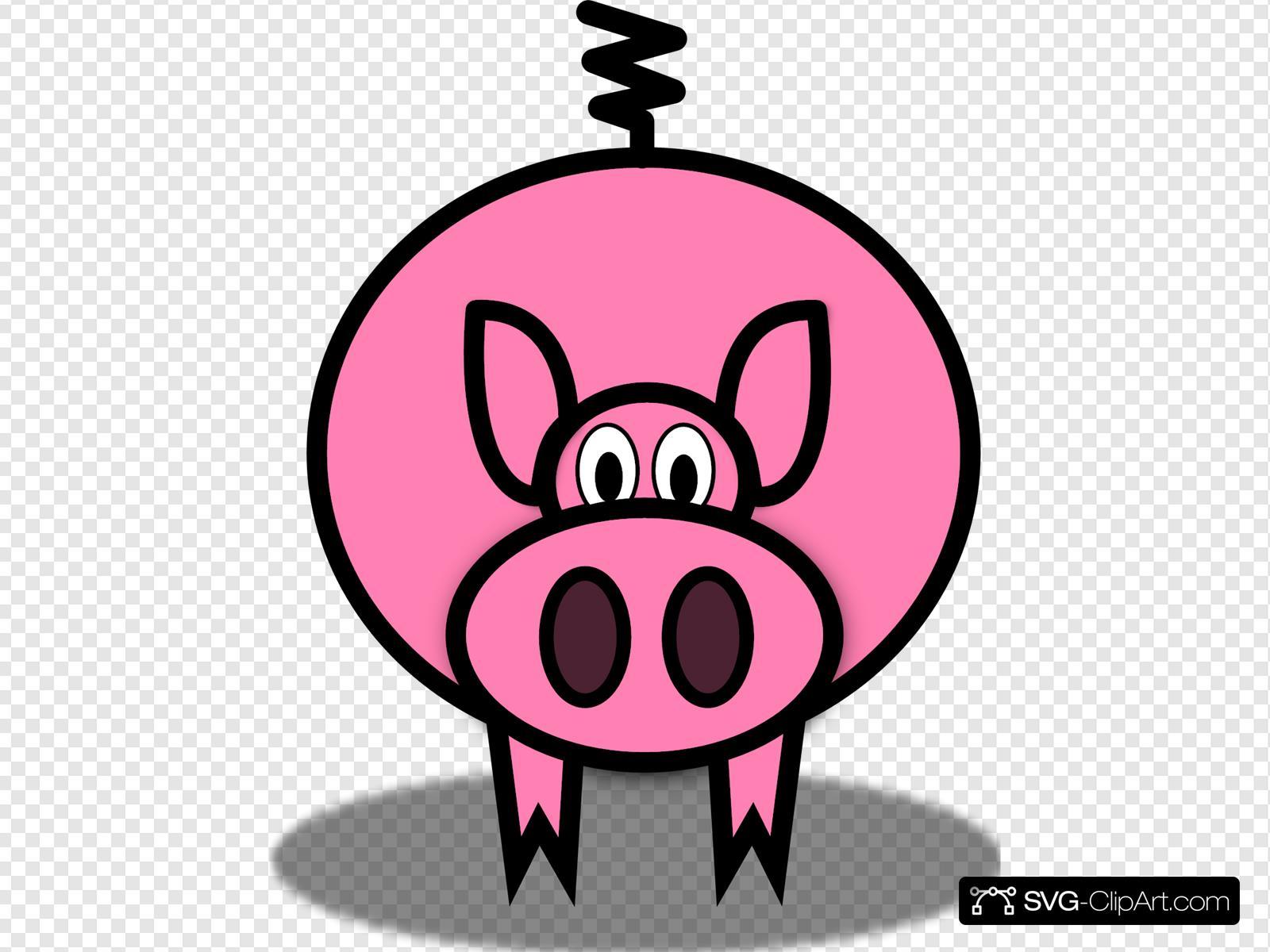 Pig simple. Cartoon clip art icon