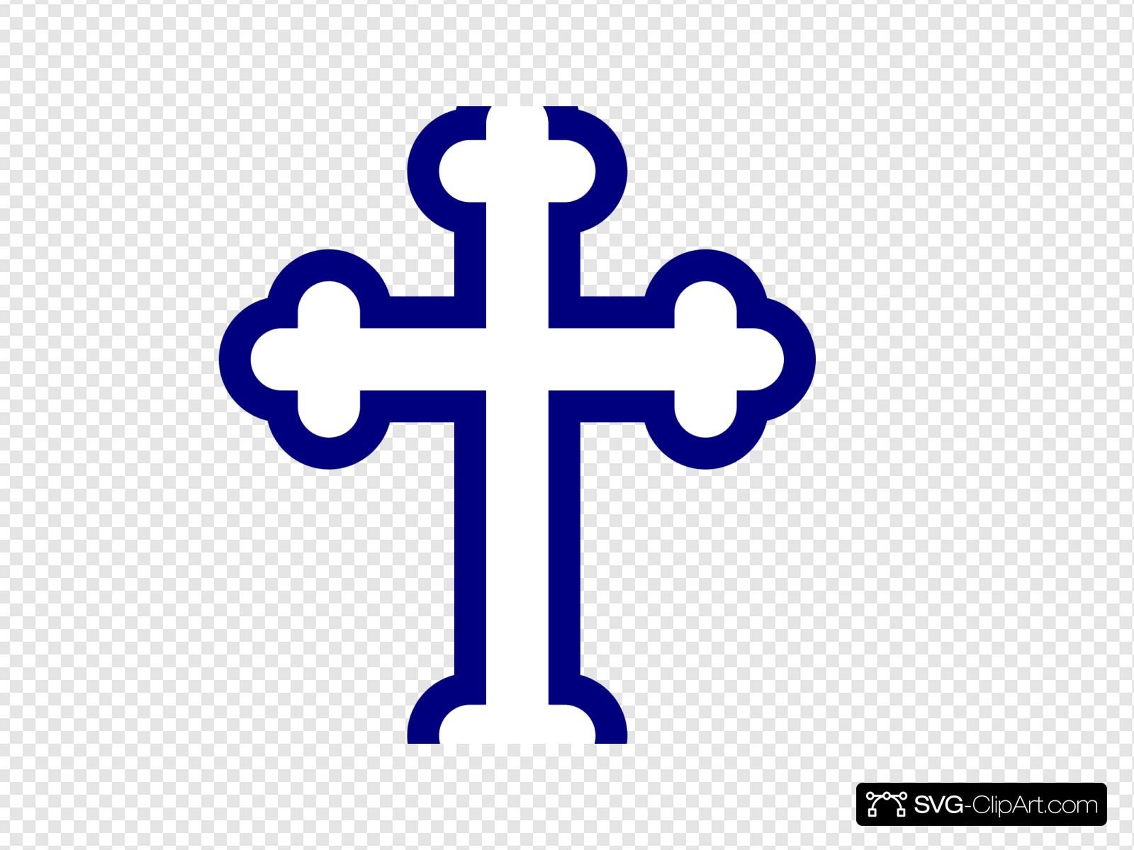 Cross outline blue. Clip art icon and