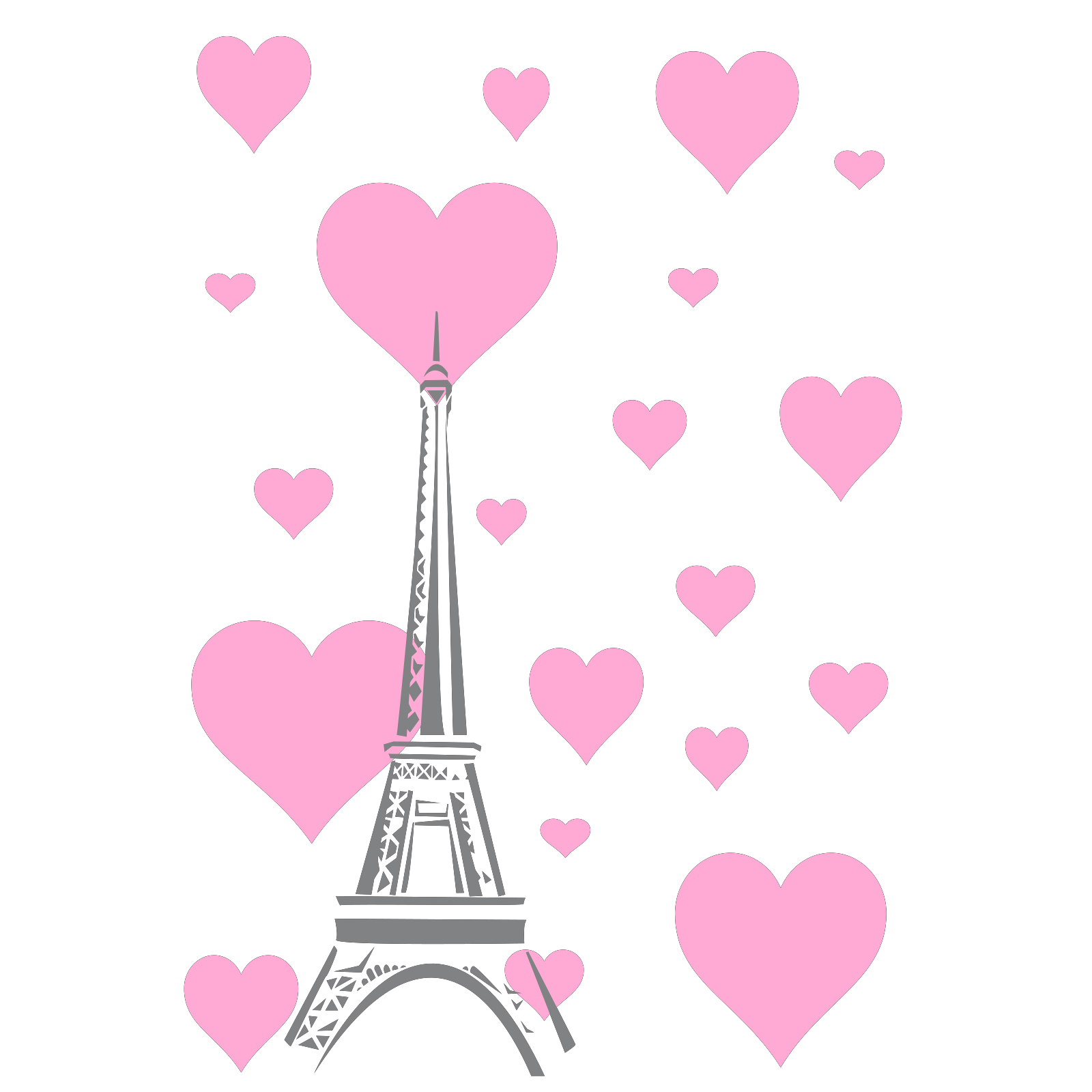 Hearts Eiffel Tower Clip Art Icon And SVG SVG Clipart