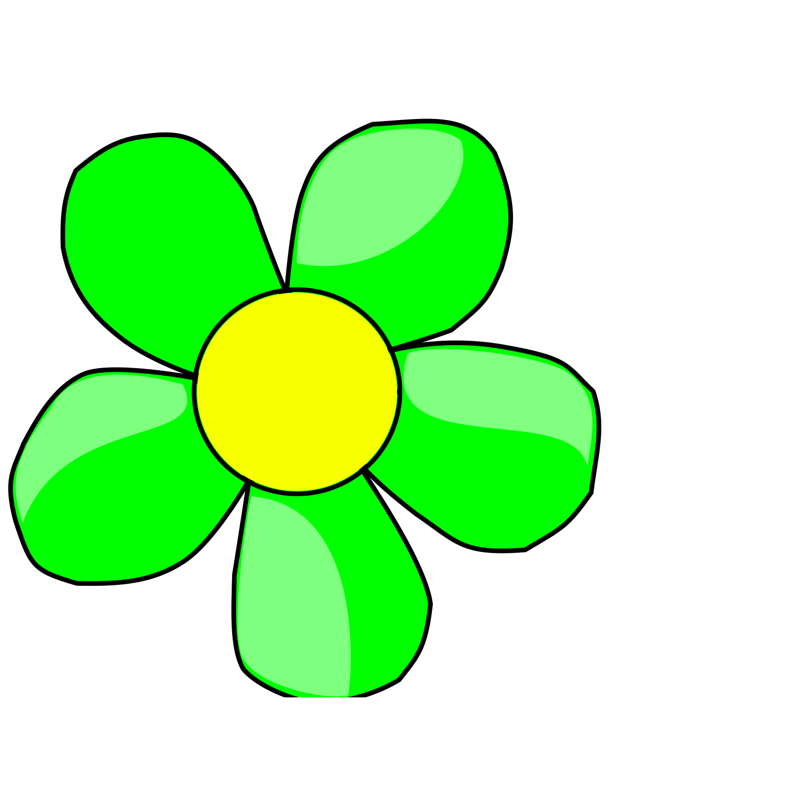 Flower green. Funny clip art icon