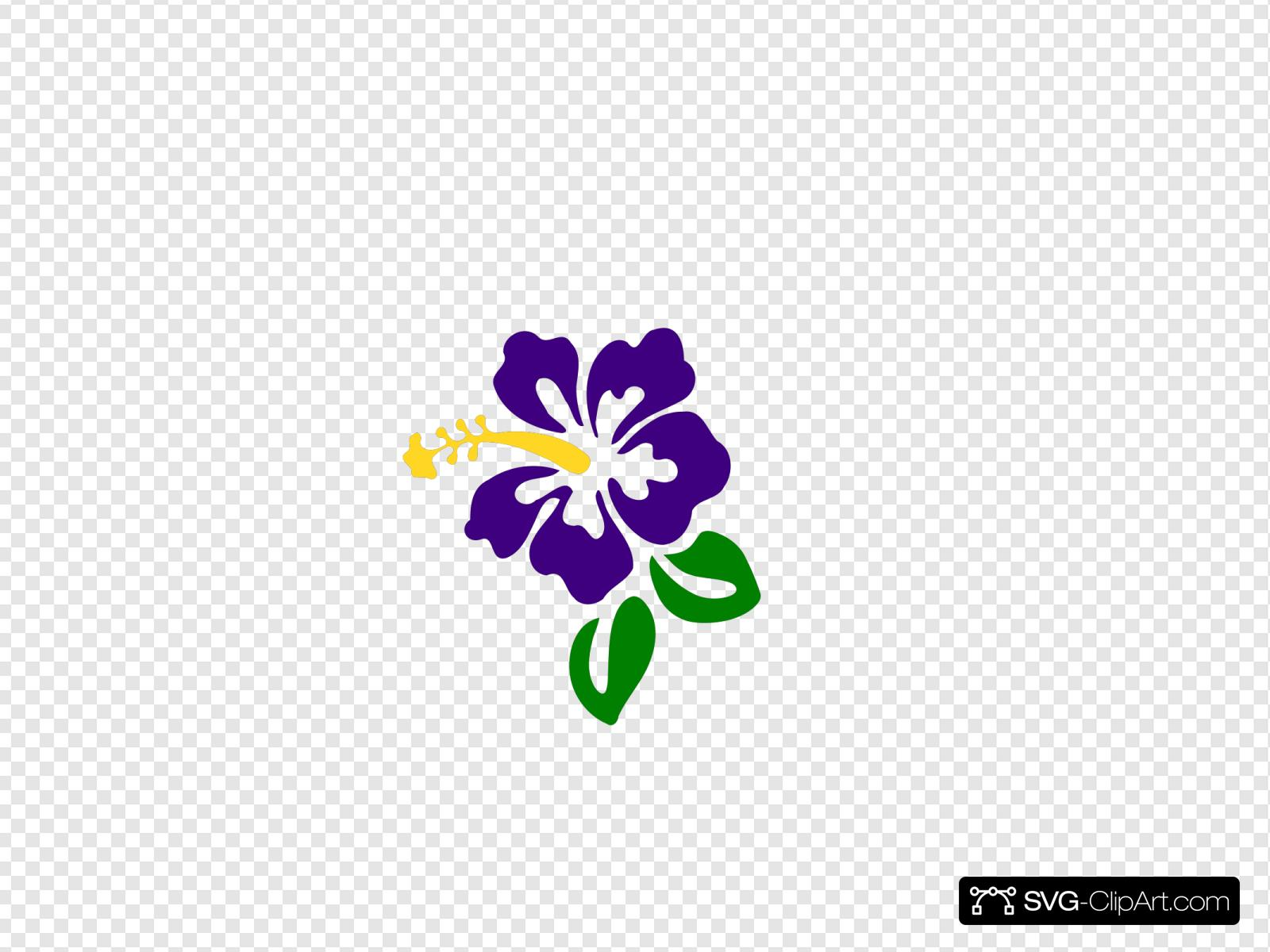 Purple Hibiscus Clip Art Icon And Svg Svg Clipart