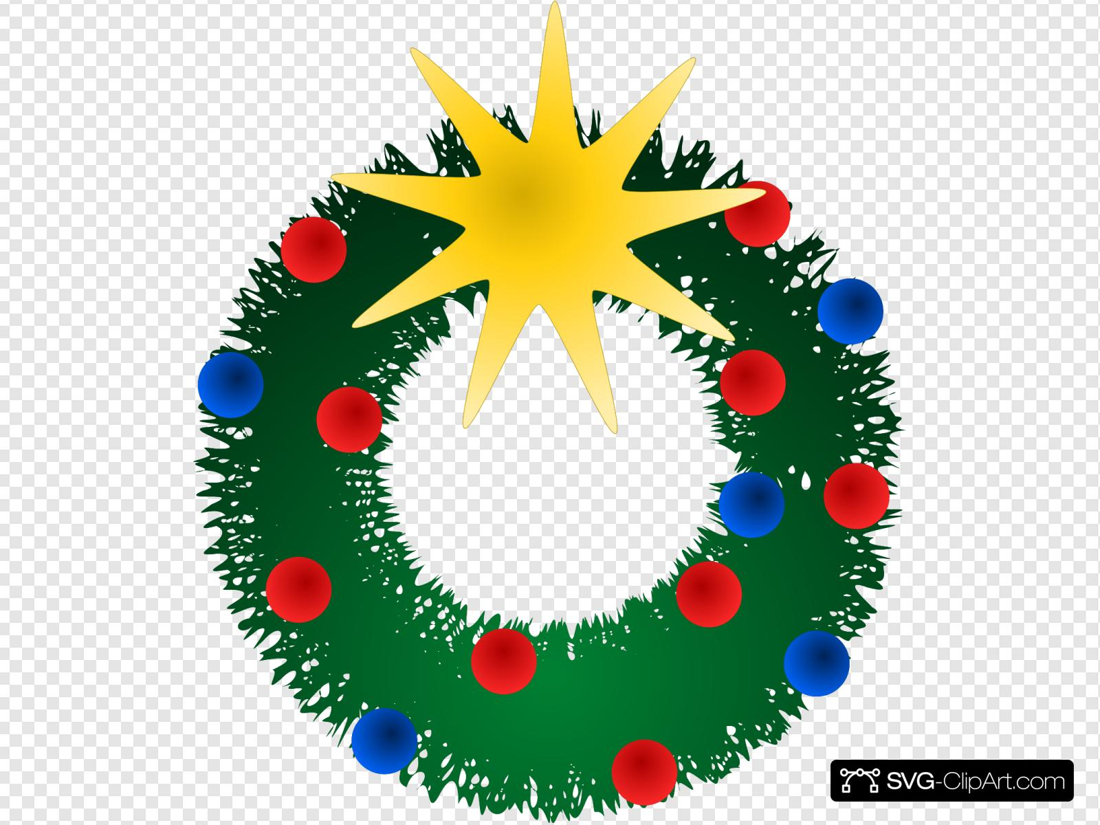 Christmas Wreath Clipart.Christmas Wreath Clip Art Icon And Svg Svg Clipart