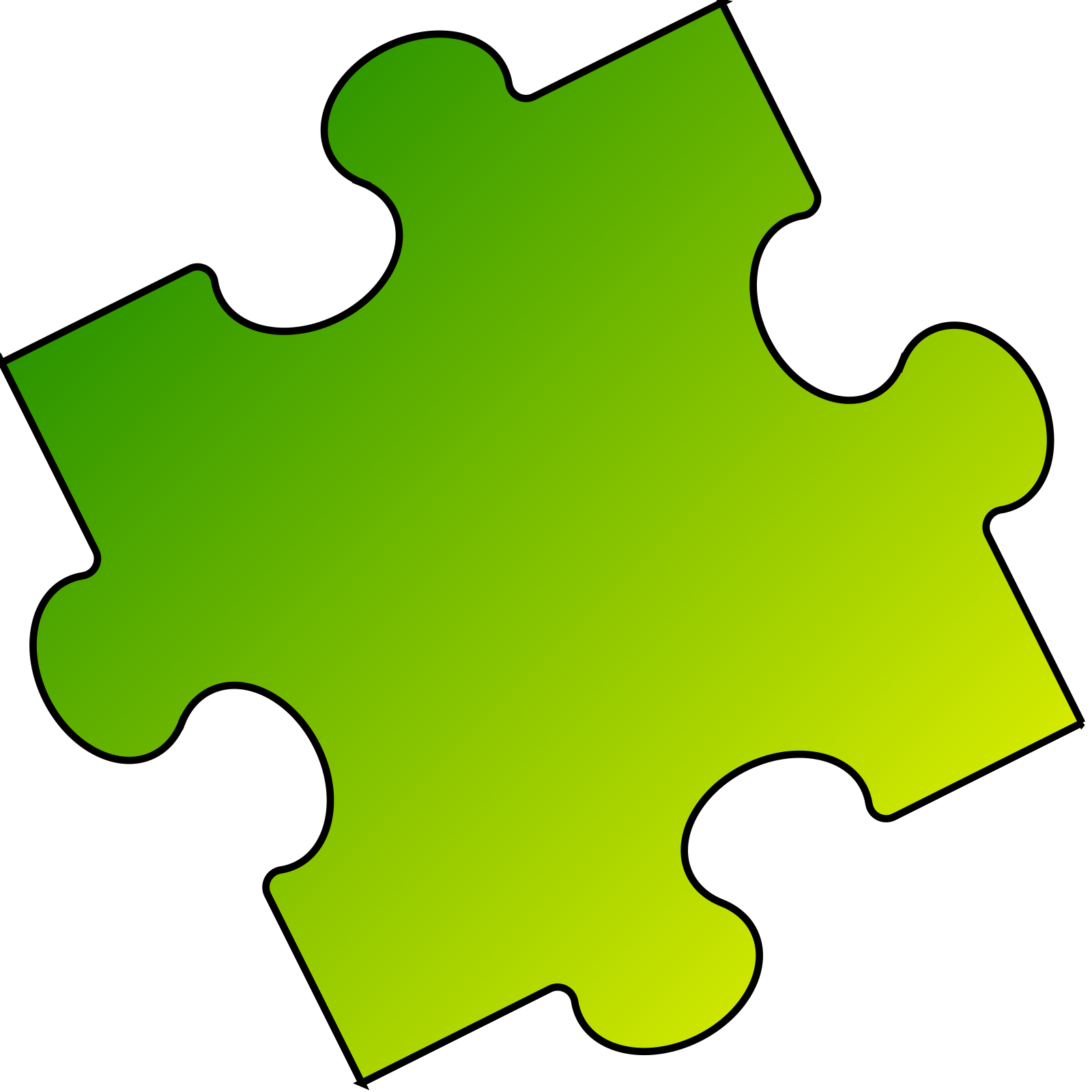 Puzzle piece small. Yellow green clip art