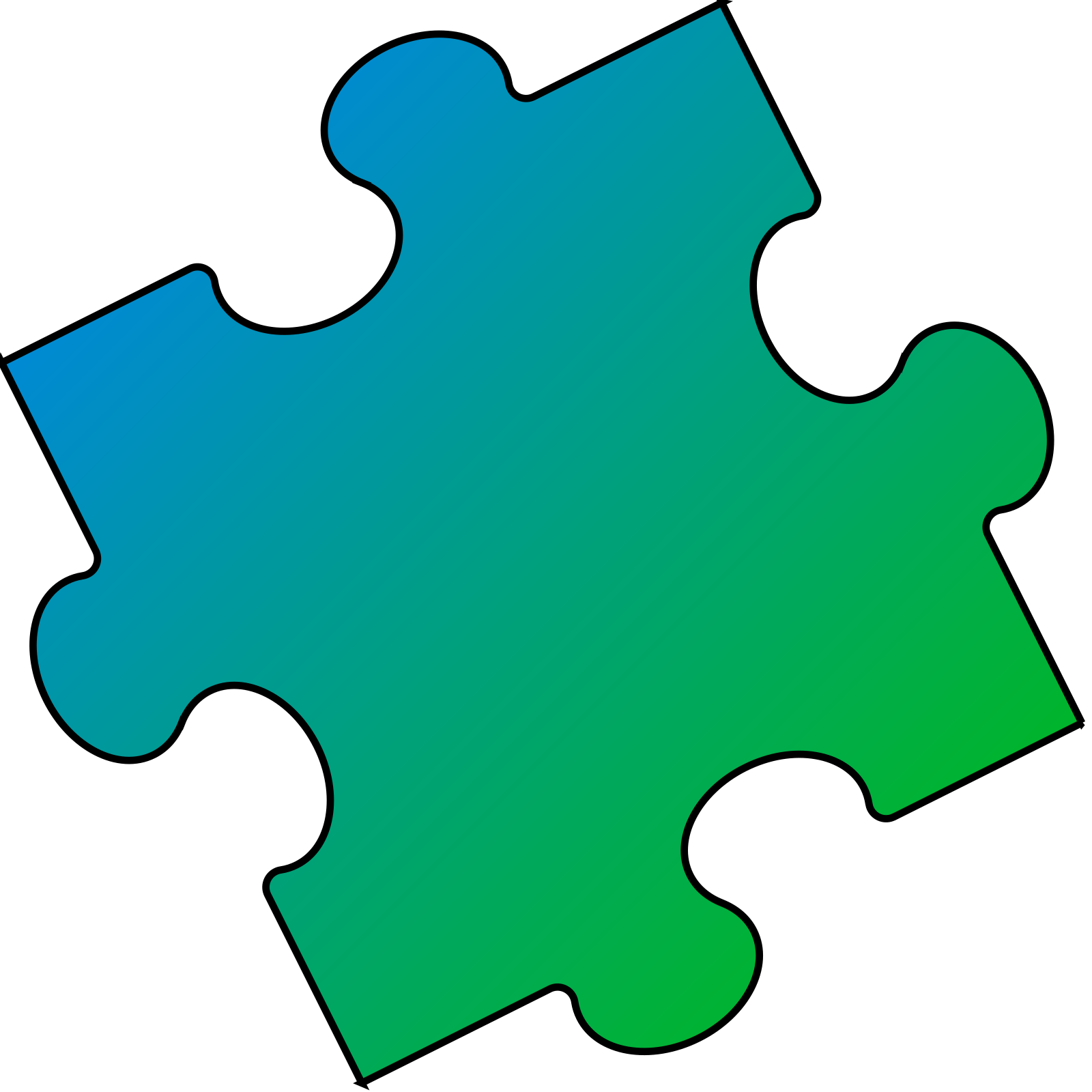 Puzzle piece small. Blue green clip art