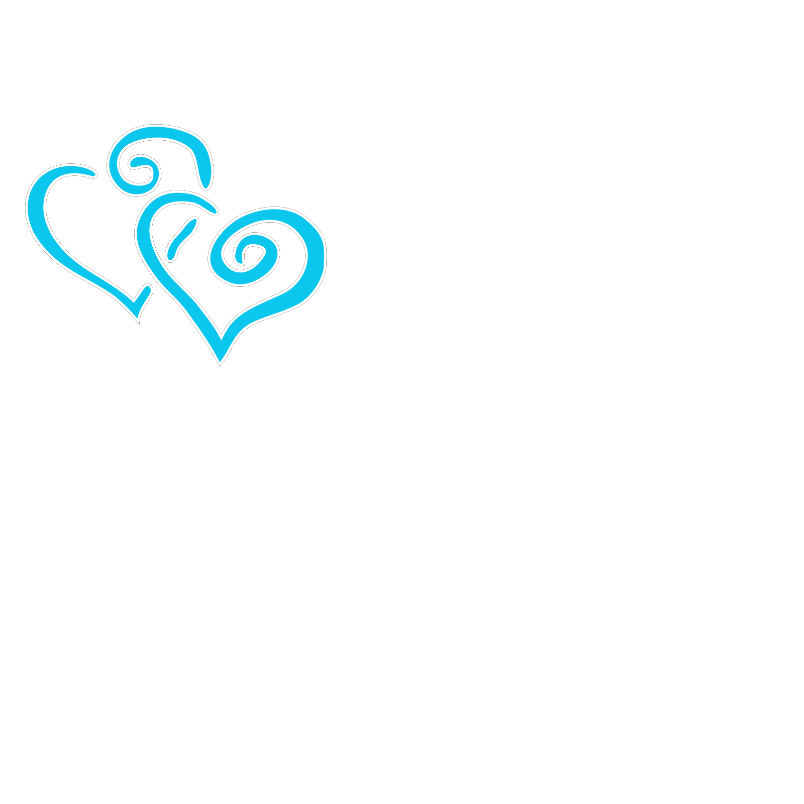 Intertwined Teal Hearts SVG Vector, Intertwined Teal ...