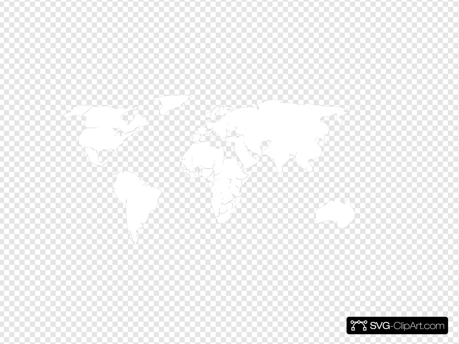 Black White Outline World Map No Background Clip Art Icon And Svg