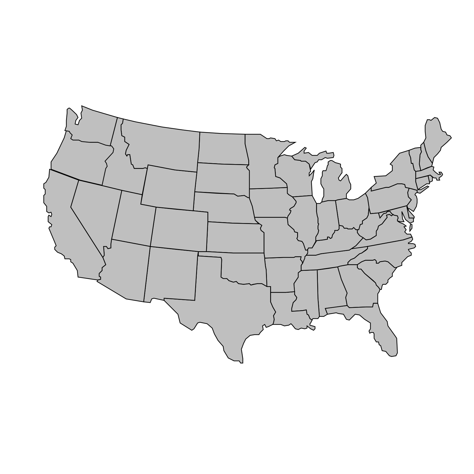 United States Of America Map Outline Gray Clip art, Icon and ...