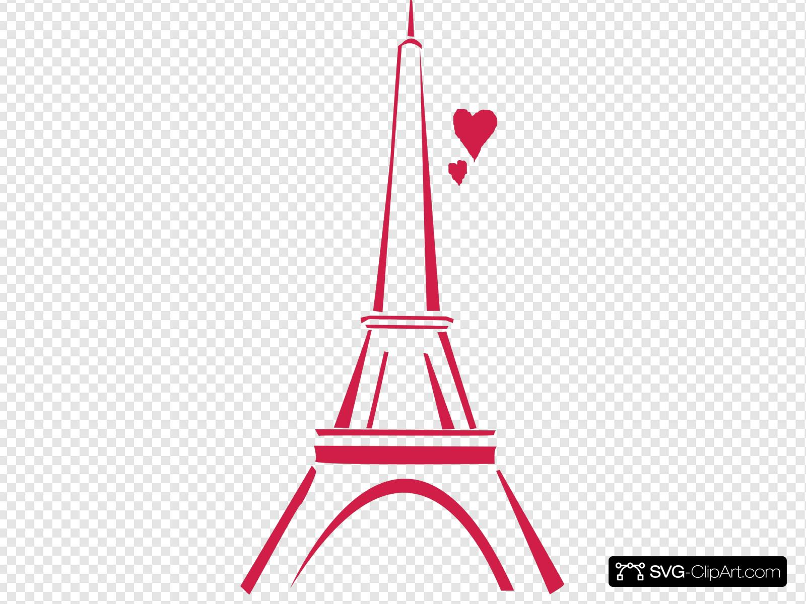 Love Paris Pink Clip Art Icon And SVG SVG Clipart