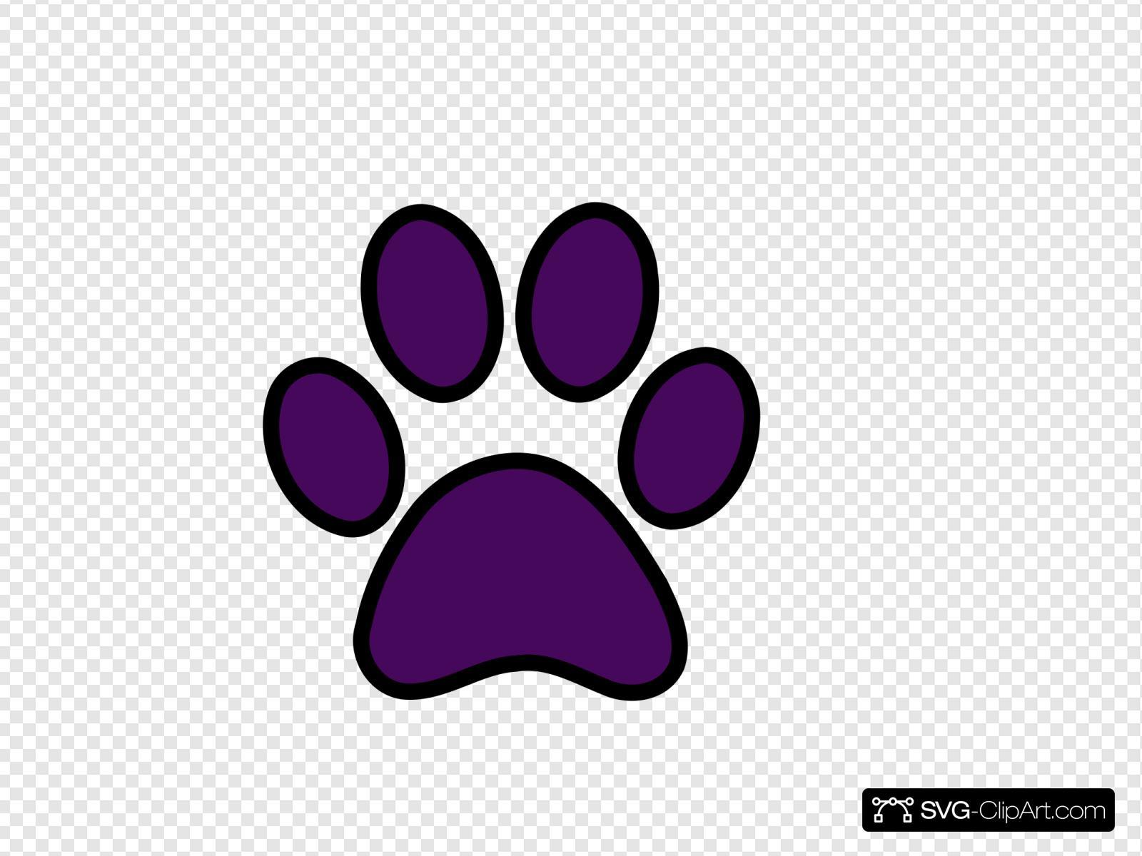 Purple Pawprint Black Outline Clip art, Icon and SVG - SVG