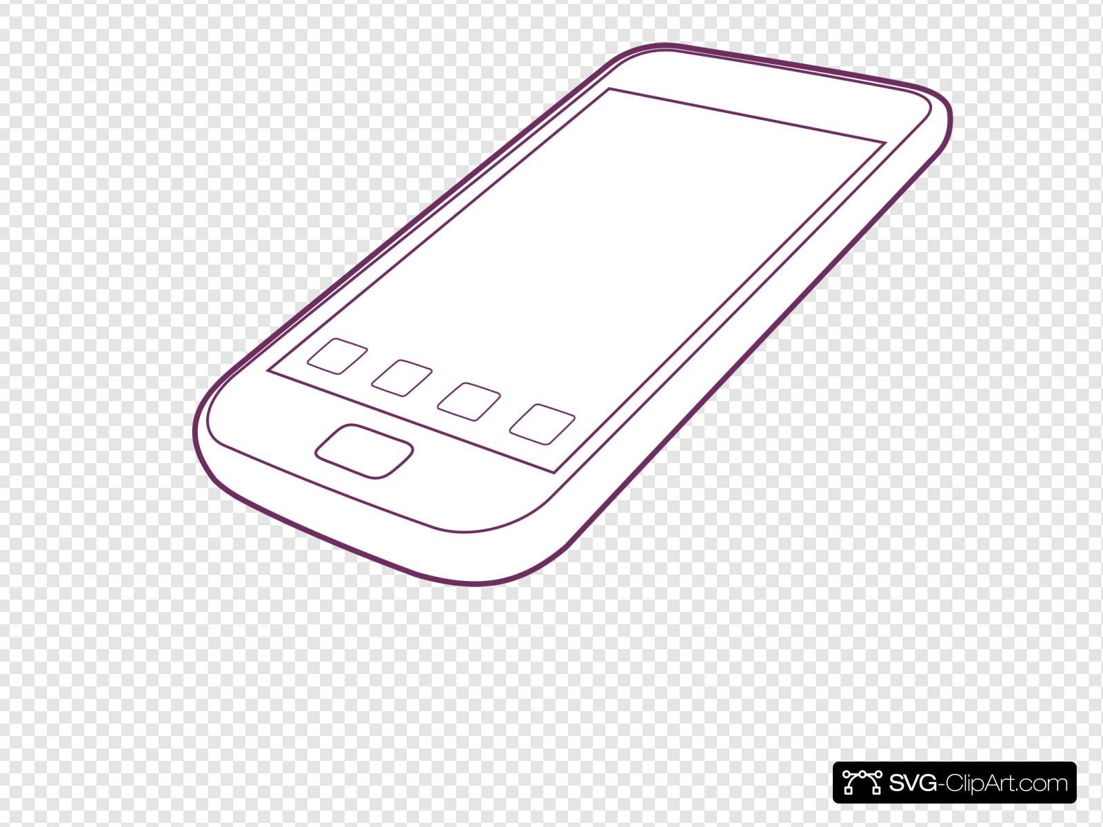 Phone outline. Purple clip art icon