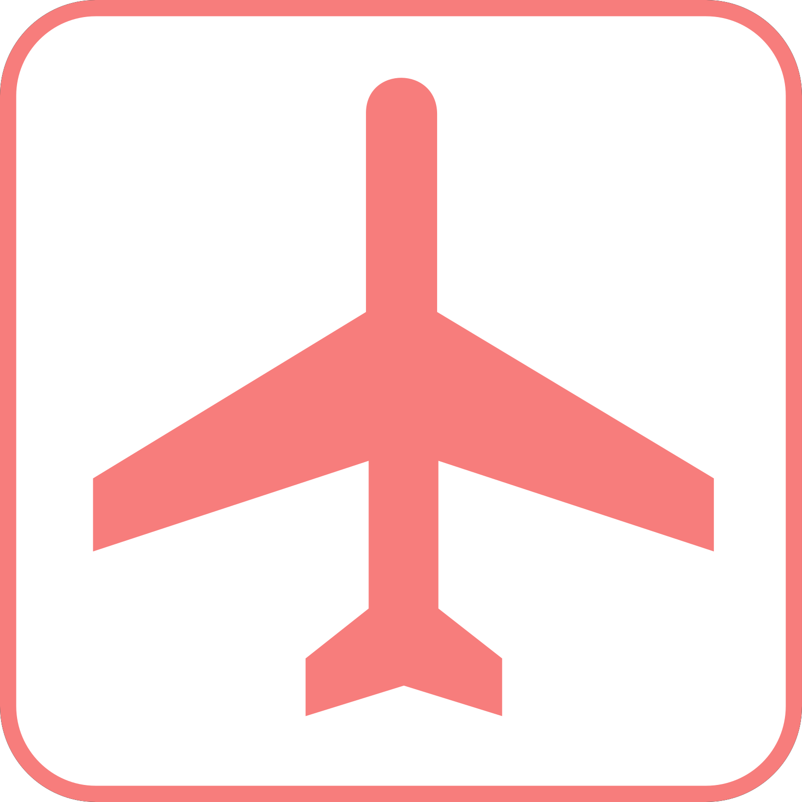 Airplane pink. Sign clip art icon