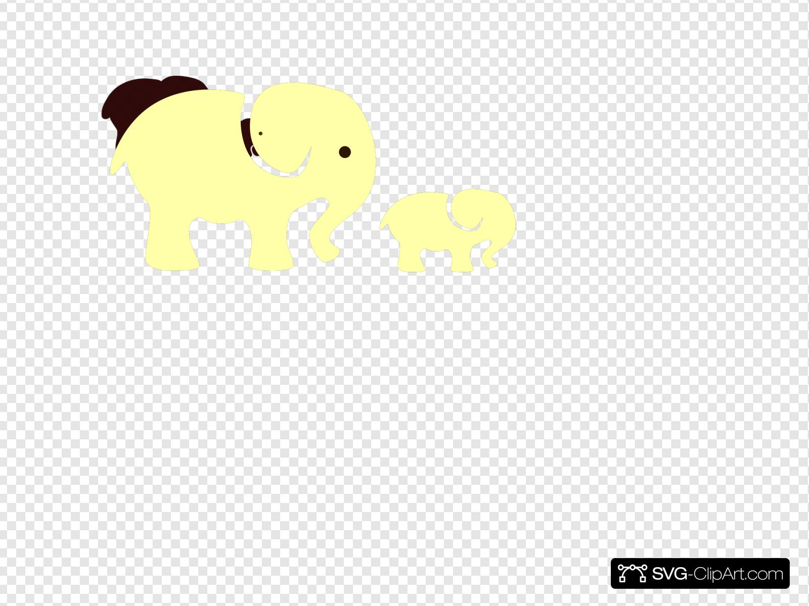Yellow Elephant Mom Baby Svg Vector Yellow Elephant Mom Baby Clip Art Svg Clipart