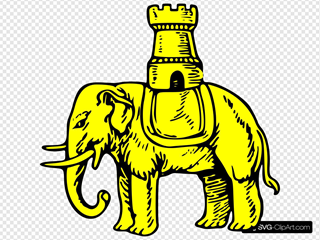Gold Elephant And Castle Symbol