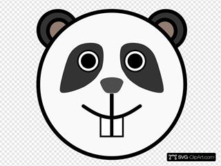 Circle Panda Head Clipart