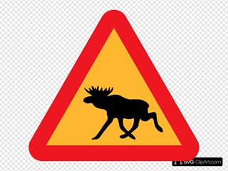 Warning Moose Roadsign