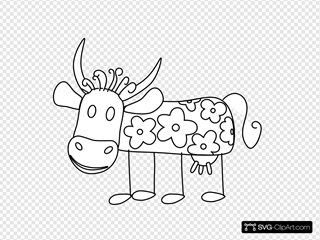 Cow With Flowers Outline