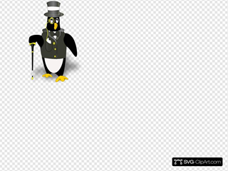 Penguin Wearing Tux Clipart