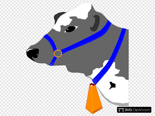 Cow With Blue Collar Clipart