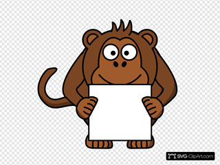 Monkey With Sign SVG Clipart