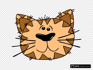 Cartoon Cat Face SVG Clipart