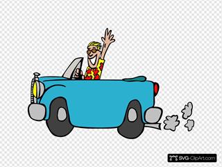 Man Driving Car SVG Clipart