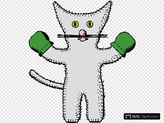 Kitten With Mittens SVG Clipart