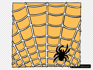 Spider On A Spider Web Clipart
