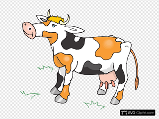 Black White And Orange Cow SVG Clipart