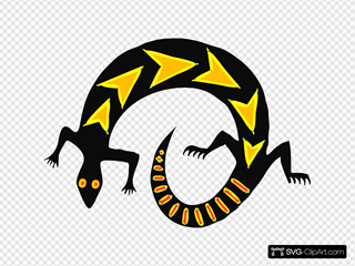 Gold And Black Abstract Lizard