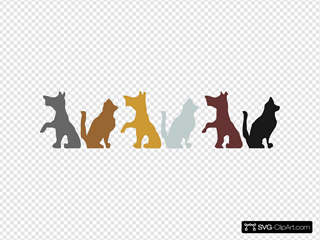 Multicolored Dog And Cat Silhouettes