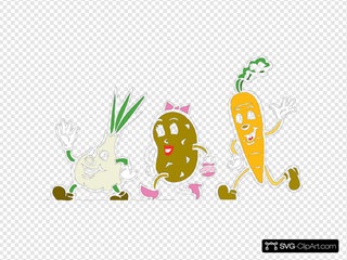 Cartoon Veggies Running