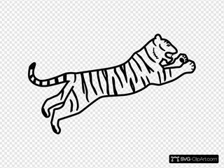 Tiger Jumping Outline