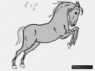 Grey Jumping Horse