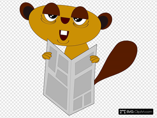 Beaver Reading The Paper SVG Clipart