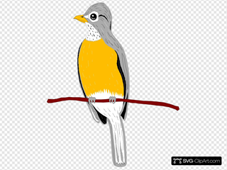 Perched Robin SVG Clipart