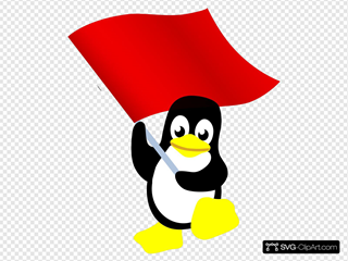 Penguin With Flag