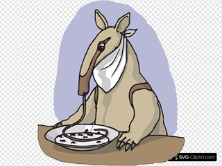 Anteater Eating From A Plate