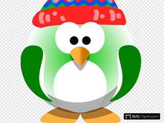 Green Penguin With Hat