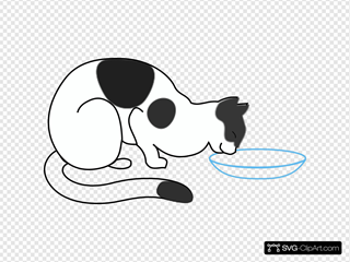 White Cat Drinking SVG Clipart