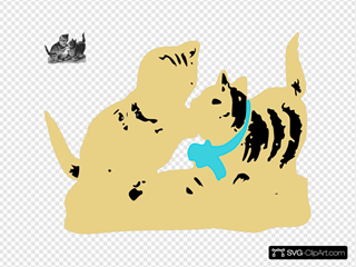 Kittens One With Blue Ribbon SVG Clipart