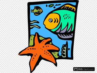 Fish Marine Life Starfish SVG Cliparts