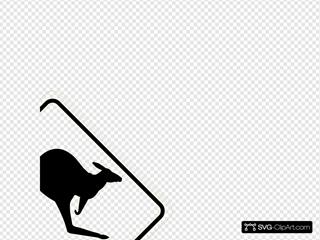 Kangaroo Traffic Sign SVG Clipart