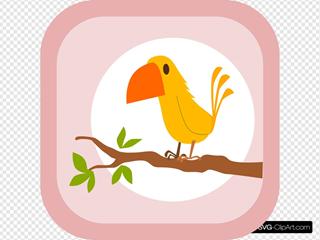Perched Cartoon Yellow Bird