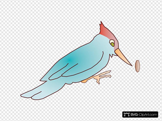 Blue Cartoon Woodpecker