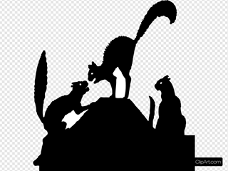 Cat Fight Silhouette