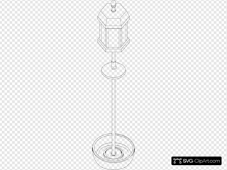 Bird Feeder Pole Outline SVG Clipart