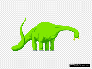 Green Colored Eating Dinosaur