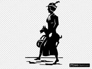 Lady Walking Dog