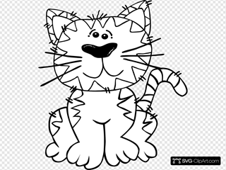 Cartoon Cat Sitting Outline