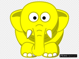 Yellow Elephant SVG Clipart